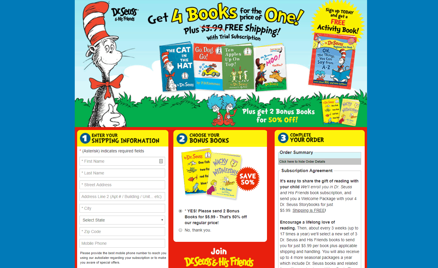 dr seuss book club to get free baby books